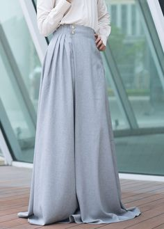Julie Pleated A-Line Modest Maxi Skirt in Armor Gray