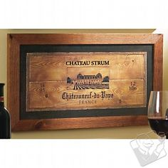 framed wine crate panel
