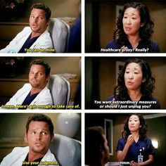 Grey's anatomy.. i would want Cristina too... Meredith is everyone else's already... Karev is crazy.... Bailey and Chief Webber would be my final surgeons but i think she would get too attached in the end if it was time for me to go.... I dont even know Owen like that...  Cristina would be logical! lol... #SoSadThatIHaveThoughtThisThrough #TheyAreNotRealPeople LMBO #DontJudgeMe