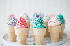 Funfetti cake baked inside ice cream cones topped with swirls of buttercream make these Ice Cream Cone Cupcakes the perfect summer treat! Ice Cream Cone Cake, Ice Cream Cupcakes, Ice Cream Toppings, Make Ice Cream, Ice Cream Party, Sundae Cupcakes, Cupcake Cones, Baking Cupcakes, Cupcake Recipes