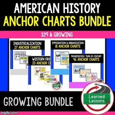 American History Anchor Charts Word Walls Bulletin Boards Study Guides Test Review