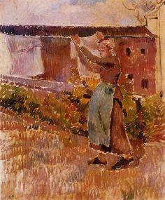 Women Tending the Laundry (study) - Camille Pissarro