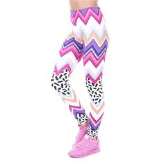 Womans Leggings Zig Zag Pattern  Yoga Pants  Womans