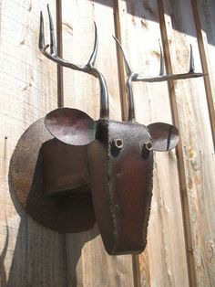 Metal Deer Head Mount, Recycled Farm Machinery