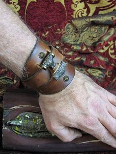 Leather Braces, Leather Cuffs, Leather Jewelry, Tan Leather, Leather Armor, Vikings, Viking Costume, Bracelet Cuir, Bangle