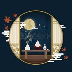moon festival: Japanese tourism poster, moon festival scenery outside the round window Japanese Design, Japanese Art, Postage Stamp Design, Asian Cards, Chinese Festival, Tourism Poster, Chinese Patterns, Art Asiatique, New Year Designs