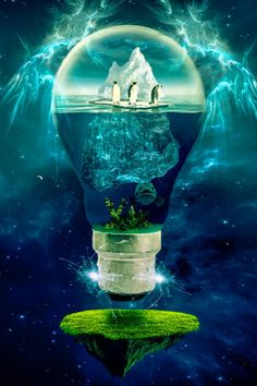 """by Erik Brede - Surreal Photo manipulation illustrating the global warming on the planet earth. From """"Save the earth Series"""". Surreal Photos, Surreal Art, Light Bulb Art, Inspiration Artistique, Rise Art, Environmental Art, End Of The World, Global Warming, Photo Manipulation"""