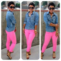 love these bright pink jeans with the essential denim shirt!
