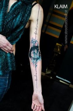 coolTop Watercolor tattoo - Classic abstract bamboo watercolor tattoo on full arm for girls
