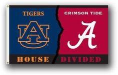 Auburn vs Alabama House Divided Banner Flag, Blue/Red 3'x5'