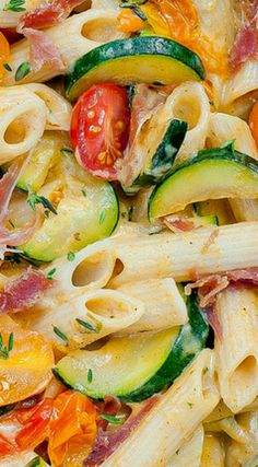 Creamy Pasta with Prosciutto, Zucchini and Grape Tomatoes ~ Flavorful... full of veggies and cheese.