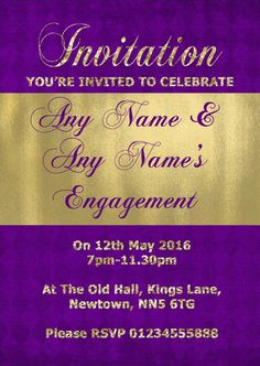 Purple And Glitter Look Gold Engagement Party Personalised InvitationsThese fantastic high quality Purple And Glitter Look Gold Engagement Party