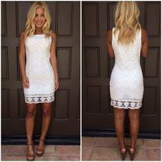 Weak In The Knees Crochet Shift Dress - WHITE | Dainty Hooligan Boutique