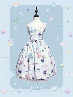 ✨✨ #LolitaUpdate: [-❤-Dreamlike Gems-❤-] Sweet Printed Lolita JSK ✨✨ Learn More: http://www.my-lolita-dress.com/dreamlike-gems-sweet-lolita-normal-high-waist-jsk-dress-inori-4