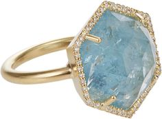 Embellished with a pavé diamond border, Irene Neuwirth hexagonal ring is crafted of gold set with a rose-cut aquamarine. rose-cut, hexagonal aquamarine gold band width, face width (approximately) Gems Jewelry, Pandora Jewelry, Jewelery, Aquamarine Rings, Gemstone Rings, Gold Set, Beautiful Rings, Ring Designs, Jewelry Design