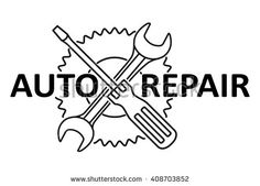 Car repair design with crossed wrench and screwdriver on a gear. Black and white vector illustration.