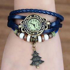 Women's Quartz Christmas Tree Weave Wrap Synthetic Leather Bracelet Wrist Watch