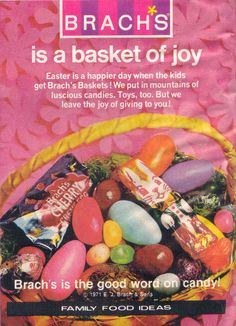 "This is a lot like what our baskets had in them when we were kids. Probably got a ""bit"" more too!! ....... Brach's Easter candy - 1971"