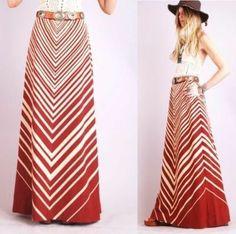 hippie chevron stripe maxi skirt