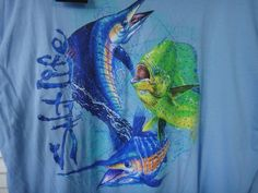 509972e393c0d Details about Saltlife Fishing Men s T-Shirt Ocean Slam Long Sleeve Color  Sky Blue Size Small
