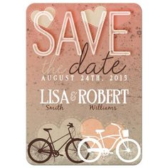 Unique bicycle bike save the date wedding invitation.   #weddings #savethedate #bicycle #bike #unique