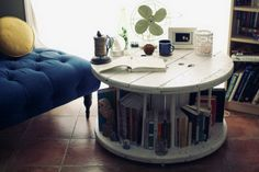 home made table for books