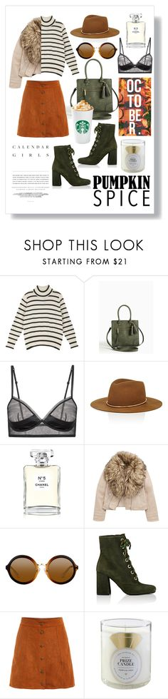 """Pumpkin Spicy"" by camilleshanel ❤ liked on Polyvore featuring Torrid, La Perla, Janessa Leone, Chanel, Kerr®, Prada, WithChic and Home Decorators Collection"
