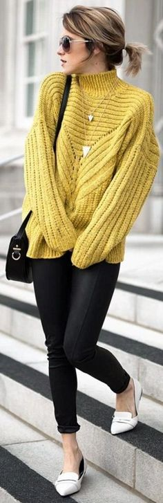 Mustard turtleneck Sweater Chicwish, Lulu's pants, Shoes  Purse Necklace and Sunglasses  F21 |Jo And Kemp