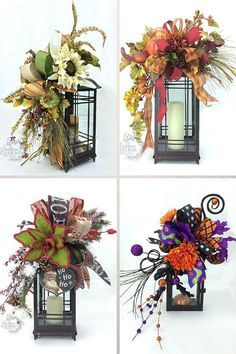 How to make a Lantern Swag for any season by SouthernCharmWreaths decorating fall DIY Fall Lantern Swag Tutorial Fall Lanterns, Halloween Lanterns, Christmas Lanterns, Lanterns Decor, Rustic Christmas, Fall Lantern Centerpieces, Decorating With Lanterns, Vintage Christmas, Decorative Lanterns