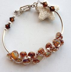 Handmade lampwork jewelry boro glass and sterling silver bracelet on Etsy