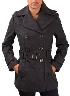 465b6710185  99.99 Kenneth Cole New York Melton Women s Belted Peacoat Jacket Coat Gray  Size 14 (