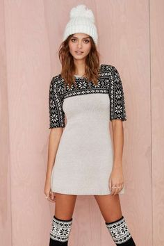 Knitz by For Love and Lemons Ice Queen Sweater Dress - Dresses