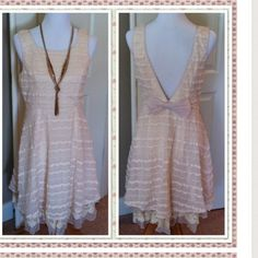 SLEEVELESS LOW BACK DRESS -MEDIUM So dainty and so flirty; so perfect for Spring. Gorgeous textures and layers of cream lace, chiffon, and crochet trim make this an exquisite Spring dress. SizeS-M-L available.  S ( 2-4) M (6-8) L (10).  Please confirm size requested and I will create a separate listing for you. A'reve Dresses