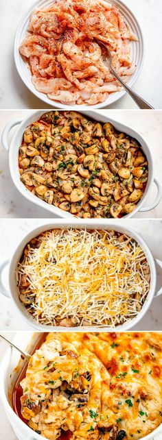 Garlic Mushrooms Chicken Casserole with Parmesan Garlic Mushroom Chicken Casserole – – Packed with flavor and so quick to throw together! This chicken and mushrooms casserole is nutritious and seriously delicious. Chicken Mushroom Casserole, Mushroom Chicken, Mushroom Dish, Garlic Chicken, Garlic Mushrooms, Stuffed Mushrooms, Casserole Dishes, Casserole Recipes, Cabbage Casserole