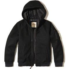 Hollister Hooded Wool-Blend Bomber Jacket (195 PEN) ❤ liked on Polyvore featuring men's fashion, men's clothing, men's outerwear, men's jackets, men, black, mens hooded jackets, mens fur lined hooded jacket, mens flight jacket and mens jackets