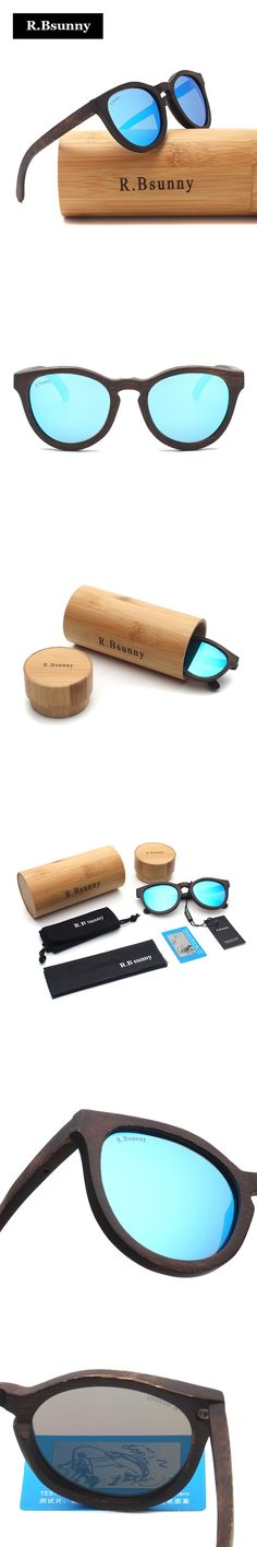 R.Bsunny fashion Products Men Women Polarized Bamboo Sunglasses Colorful Polaroid lens Retro Wood Wooden Frame Handmade RZ608