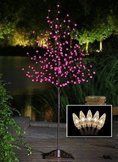 LightshareTM-UPDATE-6Ft-208L-LED-Rose-Flower-TreeFree-Gift20L-LED-C7-Decoration-LightHome-GardenSummerWeddingBirthdayChristmasFestivalParty-vanlentines-day-Indoor-and-Outdoor-UseWarm-White