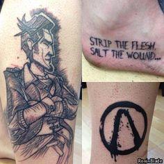 My Borderlands Leg Tattoo(s) Gamer Tattoos, Leg Tattoos, Sleeve Tattoos, Tattoos For Guys, Cool Tattoos, Awesome Tattoos, Tatoos, Borderlands Tattoo, Borderlands Art