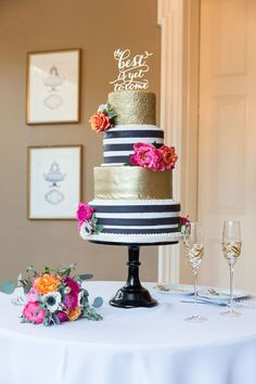 Image result for black and white stripe and floral cake