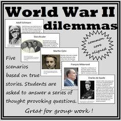 World War II activity.  Great for World War II that forces students to think critically!  Students are given five scenarios that involve World War II, the Holocaust, and its aftermath. Then they are asked to answer a series of thought provoking moral questions. Each story is based on a true event and the real stories are also provided. Extension suggestions and a lesson plan are included.