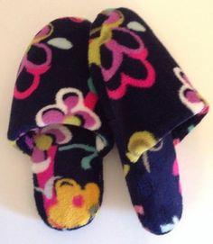 Vera Bradley Slippers Ribbons L 9/10 Breast Cancer Awareness Pattern Shoes Pink $24.99 w/free US ship #verabradleyslippers #breastcancer
