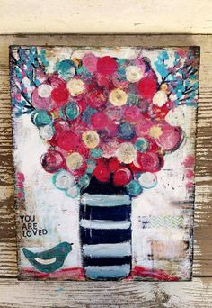 flower painting with bird you are loved 8 x by sunshinegirldesigns, $55.00
