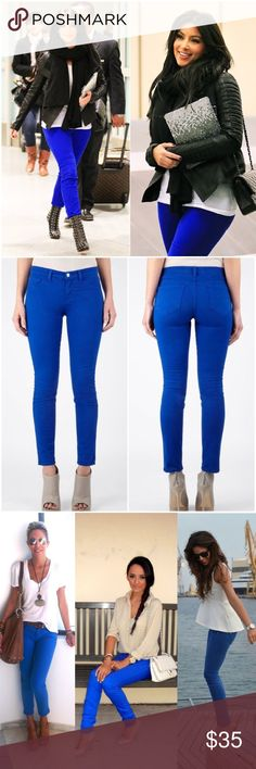 J Brand Bright Cobalt Blue Skinny Leg Jeans! Size 25 Skinny leg J Brand jeans as seen on Kim Kardashian. They're used but still have lots of life left! These jeans are beautiful and versatile as shown in the 3rd pic! Lots of different pairing options! J Brand Jeans Skinny