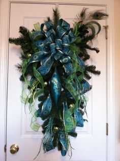 Whimsical Christmas Wreath Peacock Theme Hues of Tourquoise Gold Lime Green Peacock Christmas, Christmas Swags, Whimsical Christmas, Blue Christmas, Deco Mesh Wreaths, Holiday Wreaths, Holiday Crafts, Christmas Holidays, Holiday Decor