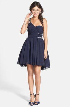 Way-In Embellished One-Shoulder Fit & Flare Dress (Juniors) | Nordstrom