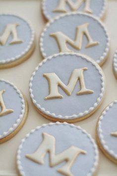 Monogram Cookies One Dozen by bbsweetslove on Etsy Iced Cookies, Royal Icing Cookies, Fun Cookies, Cookies Et Biscuits, Cupcake Cookies, Sugar Cookies, Decorated Cookies, Cupcakes, Baptism Cookies