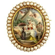Antique French 18K Gold Pearl Brooch Enamel Miniature Portrait Mother & Children