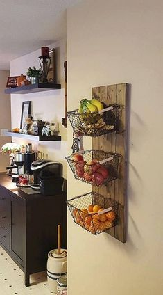 Kitchen Remodel On A Budget 10 Creative DIY Fruit Storage Ideas for Better Kitchen Organization Small Kitchen Layouts, Small Kitchen Organization, Diy Kitchen Storage, Kitchen Decor, Tool Organization, Kitchen Organisation Cabinets, Kitchen Storage Furniture, Open Kitchen Shelving, Kitchen Countertop Storage