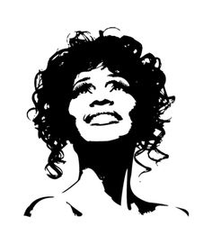 Whitney Houston Wall Decal with Lyrics Whitney Houston, Spray Paint Stencils, Stencil Art, Stenciling, Houston Tattoos, Celebrity Drawings, Scroll Saw Patterns, Silhouette Art, Black And White Portraits