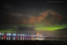 Mackinaw Bridge and northern lights 2013